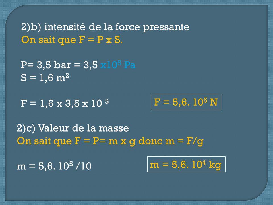 2)b) intensité de la force pressante