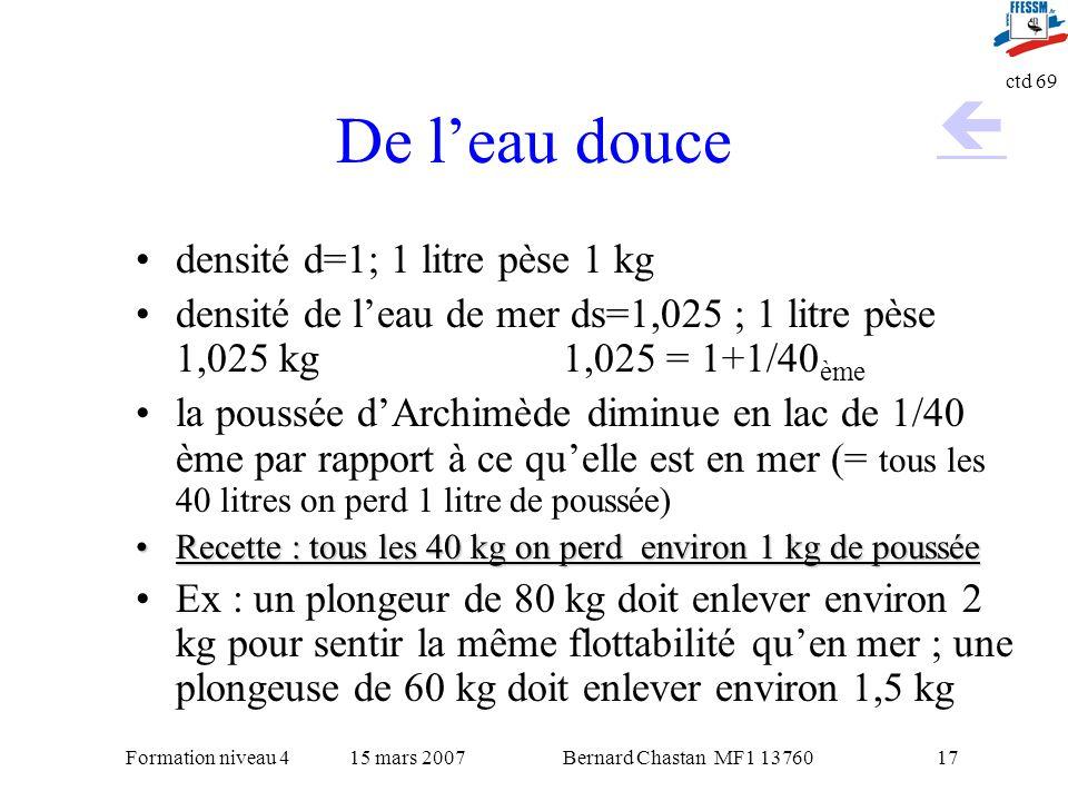 De l'eau douce  densité d=1; 1 litre pèse 1 kg