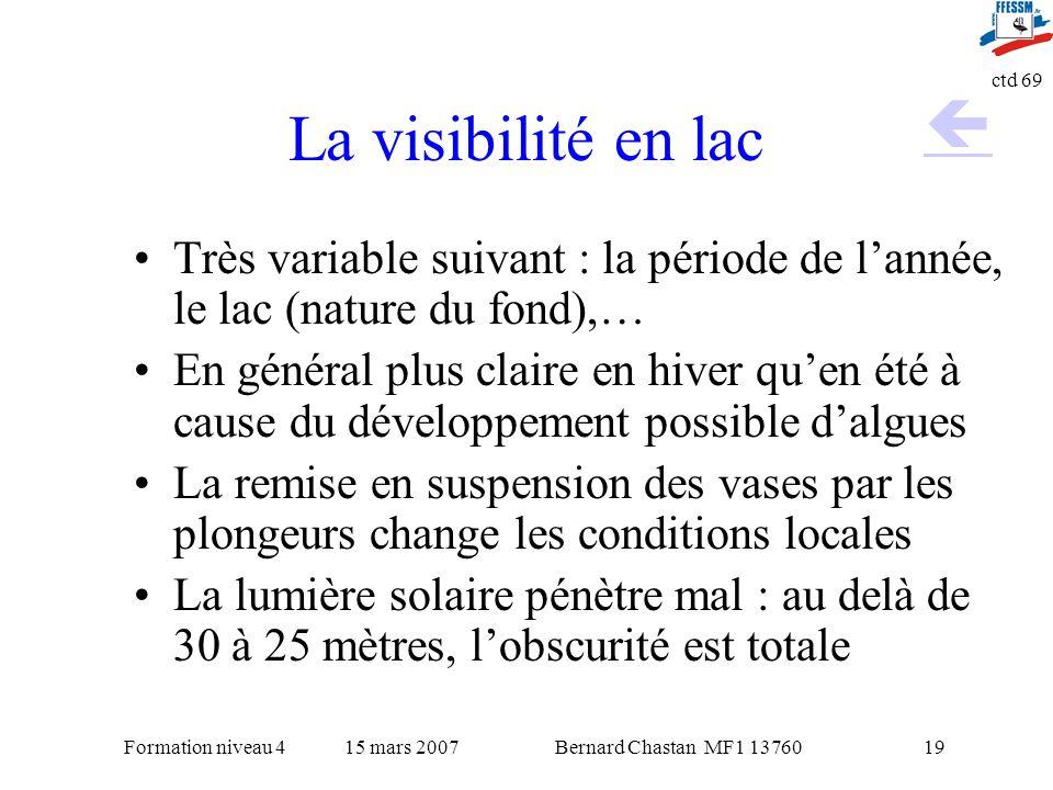 La visibilité en lac  Très variable suivant : la période de l'année, le lac (nature du fond),…