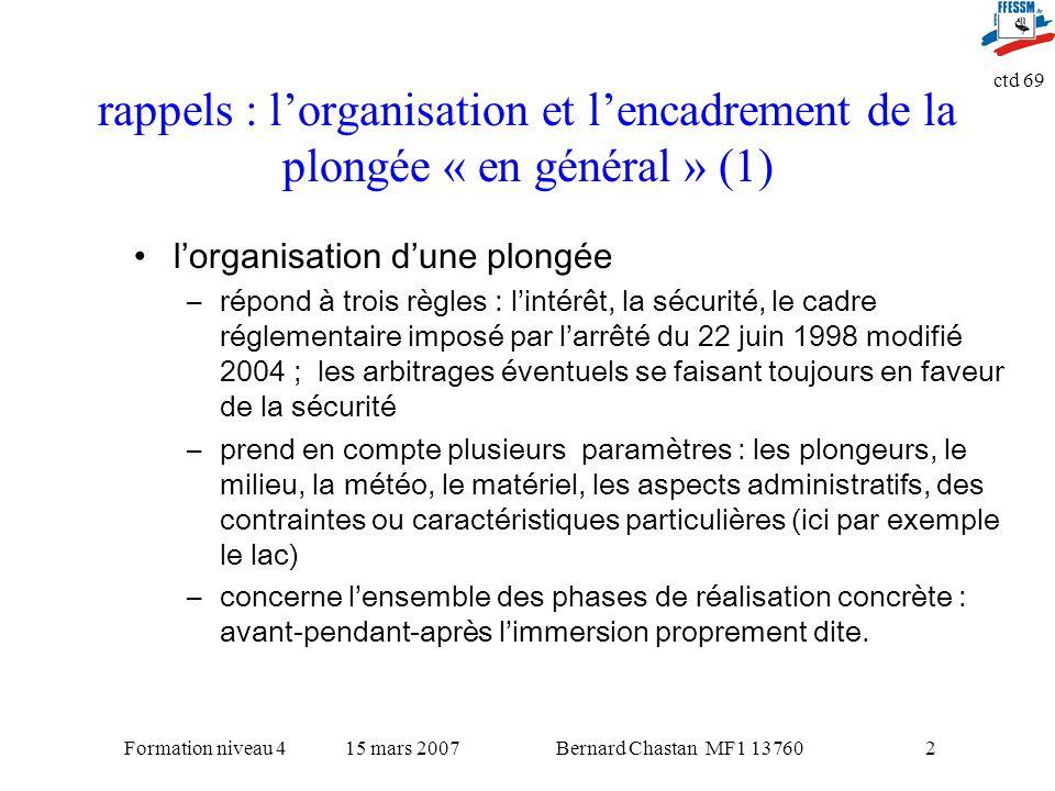 rappels : l'organisation et l'encadrement de la plongée « en général » (1)
