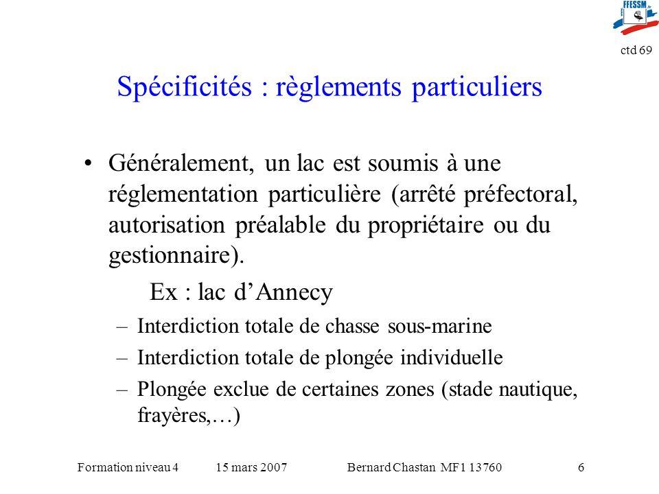 Spécificités : règlements particuliers