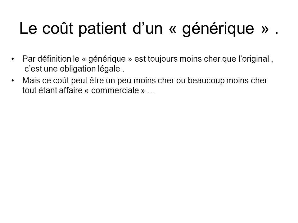 Le coût patient d'un « générique » .