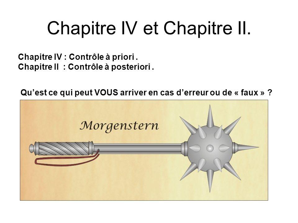 Chapitre IV et Chapitre II.