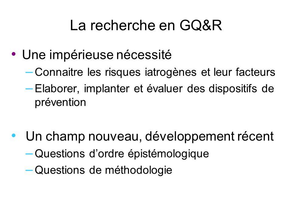 La recherche en GQ&R Une impérieuse nécessité