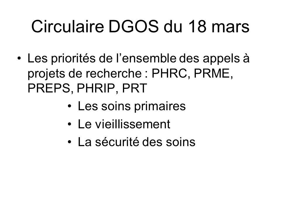 Circulaire DGOS du 18 mars