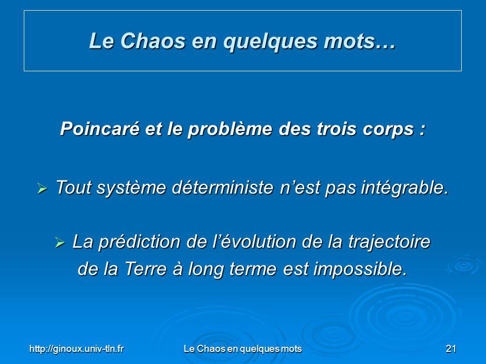 Le Chaos en quelques mots… Poincaré et le problème des trois corps :