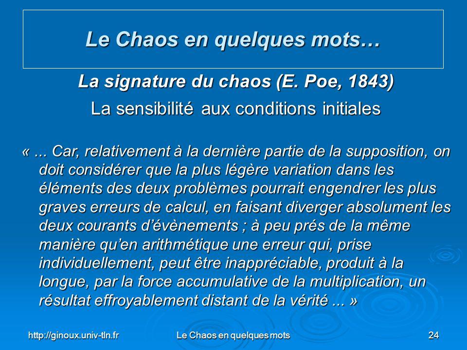 Le Chaos en quelques mots… La signature du chaos (E. Poe, 1843)