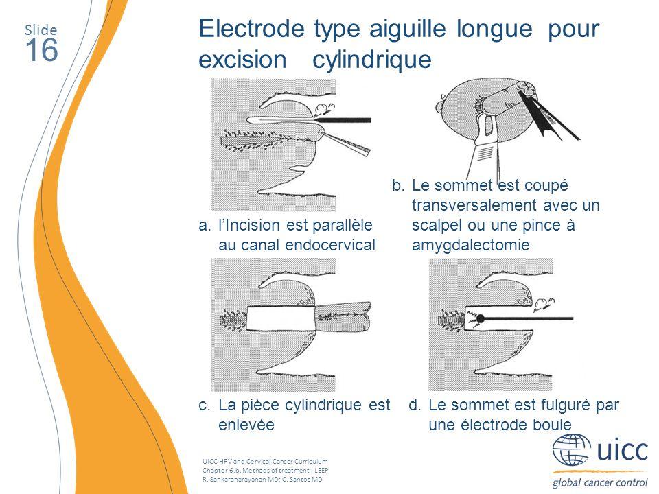 16 Electrode type aiguille longue pour excision cylindrique Slide