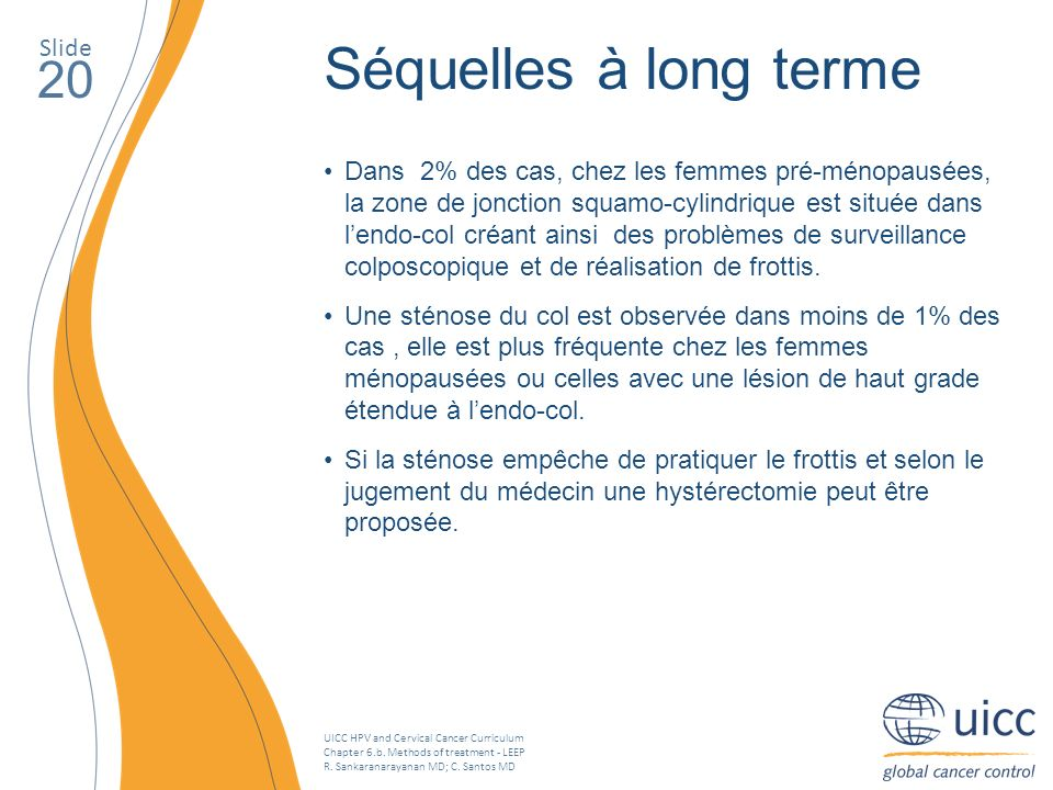 Séquelles à long terme 20 Slide