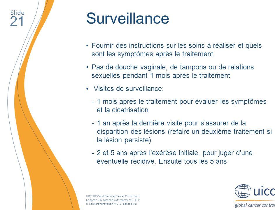 Slide Surveillance. 21. Fournir des instructions sur les soins à réaliser et quels sont les symptômes après le traitement.