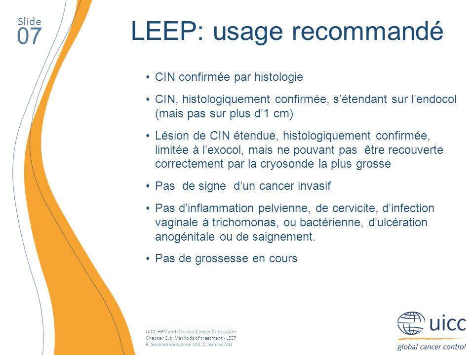 LEEP: usage recommandé