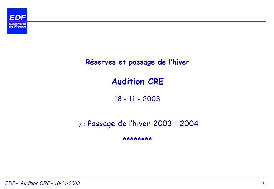 Réserves et passage de l'hiver Audition CRE 18 - 11 - 2003 B : Passage de l'hiver 2003 - 2004 ********