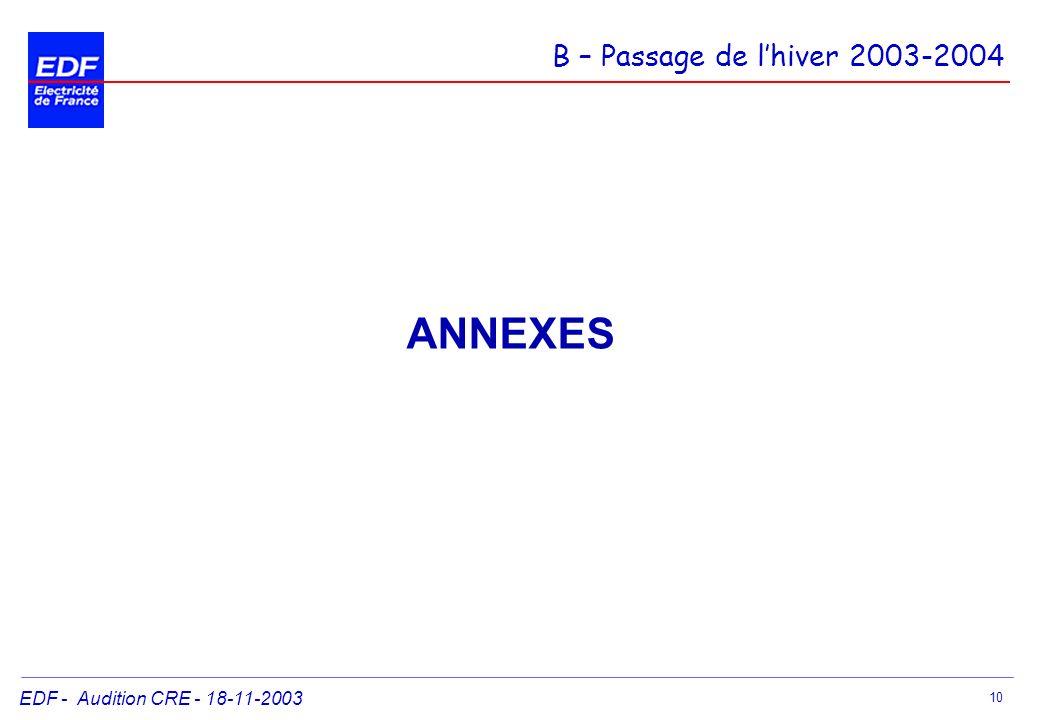 ANNEXES B – Passage de l'hiver 2003-2004