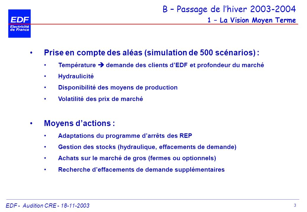 B – Passage de l'hiver 2003-2004 1 – La Vision Moyen Terme
