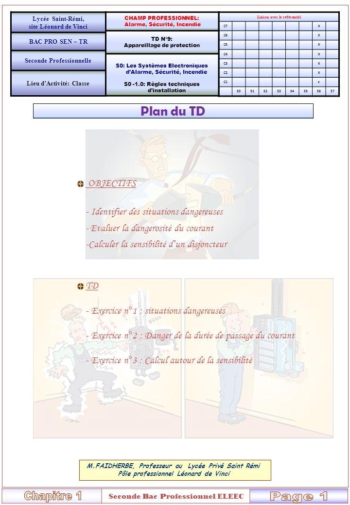 Chapitre 1 Page 1 Plan du TD OBJECTIFS