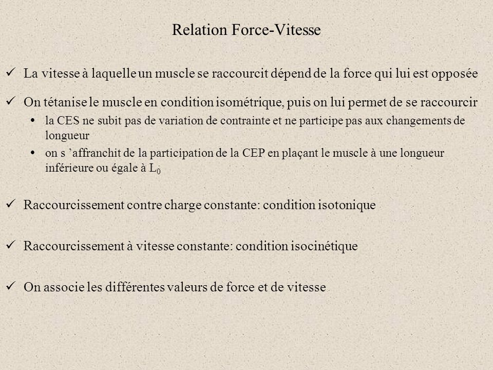 Relation Force-Vitesse