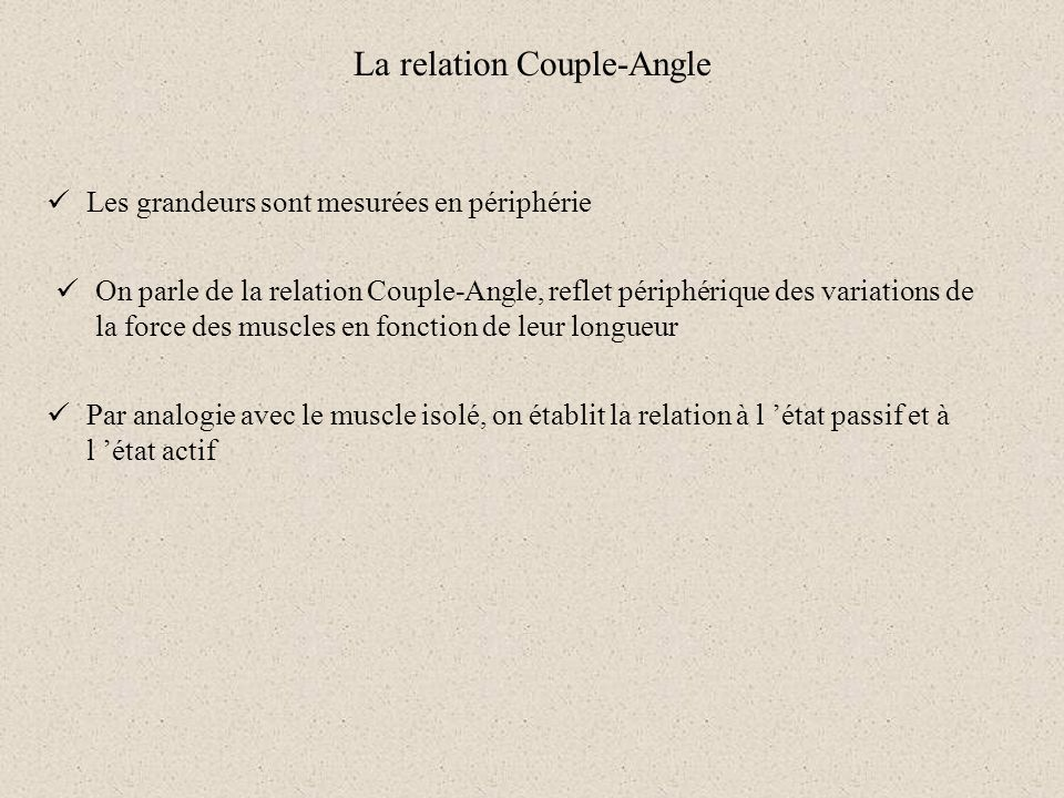 La relation Couple-Angle