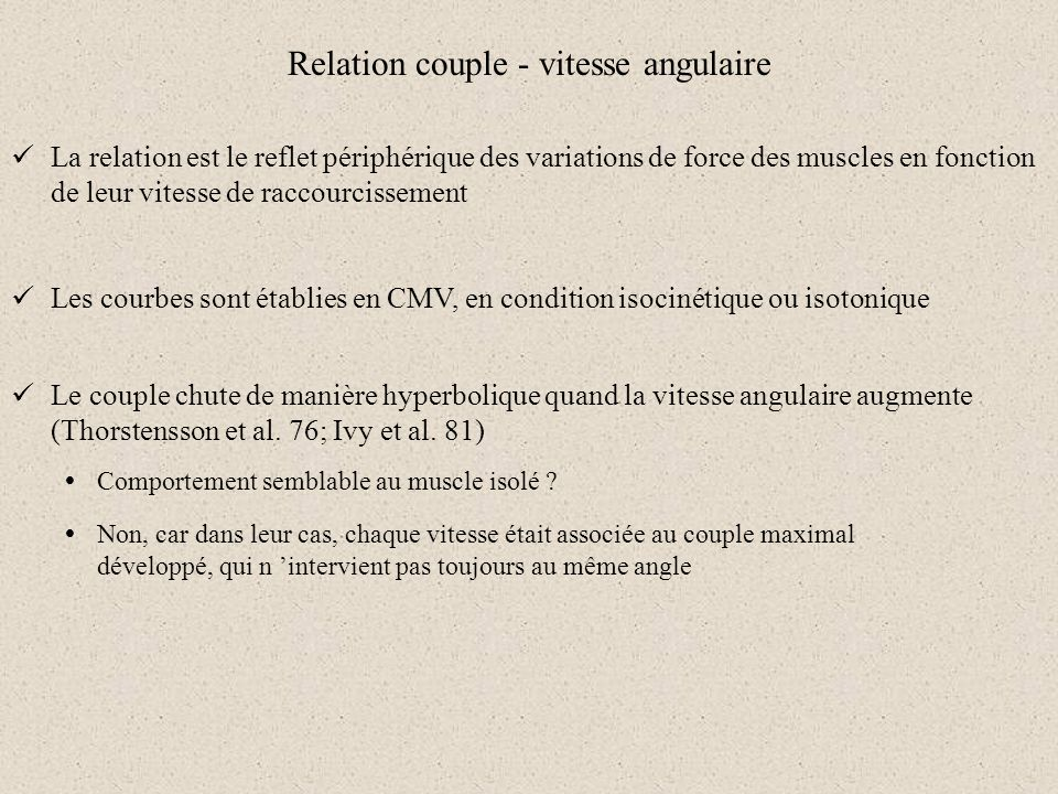 Relation couple - vitesse angulaire