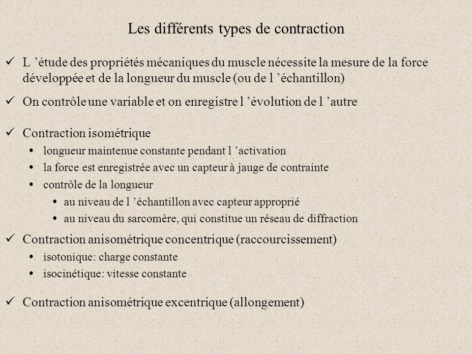 Les différents types de contraction