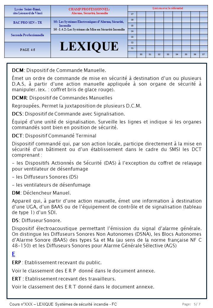 LEXIQUE E DCM: Dispositif de Commande Manuelle.