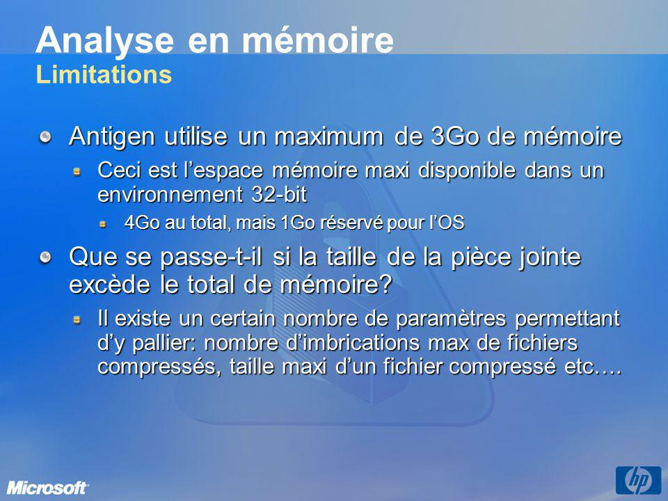 Analyse en mémoire Limitations