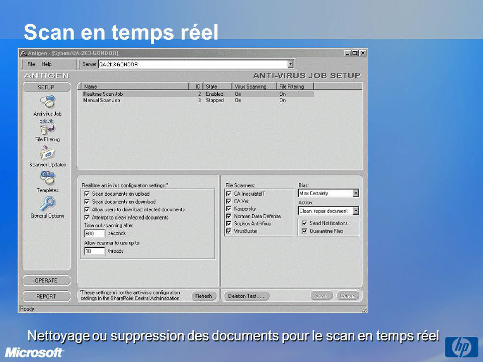 Scan en temps réel Nettoyage ou suppression des documents pour le scan en temps réel