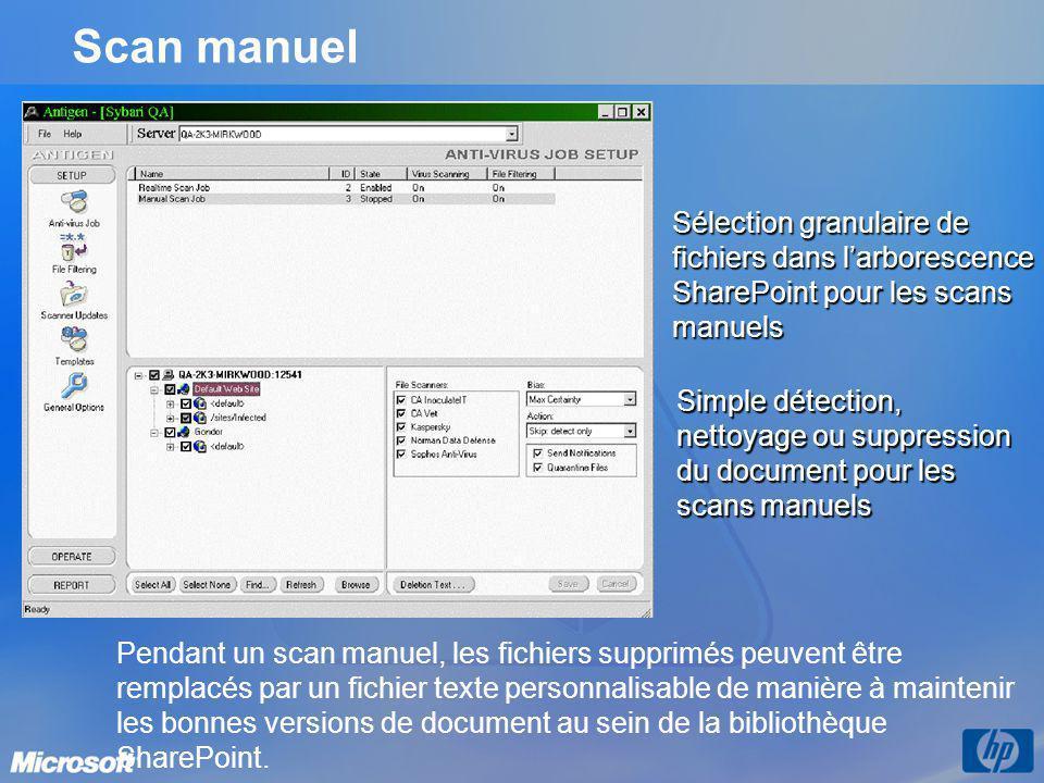 Scan manuel Sélection granulaire de fichiers dans l'arborescence SharePoint pour les scans manuels.