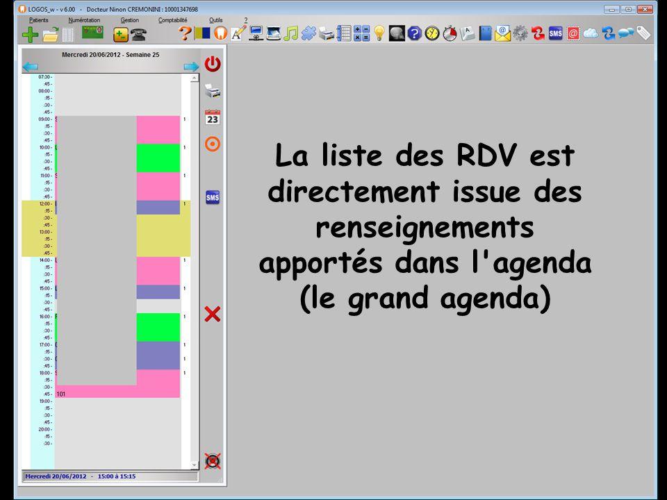 La liste des RDV est directement issue des renseignements apportés dans l agenda (le grand agenda)