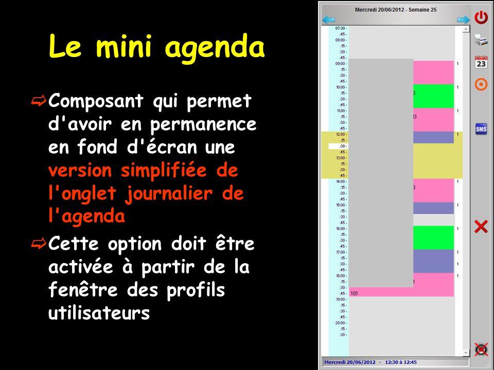 Le mini agenda Composant qui permet d avoir en permanence en fond d écran une version simplifiée de l onglet journalier de l agenda.
