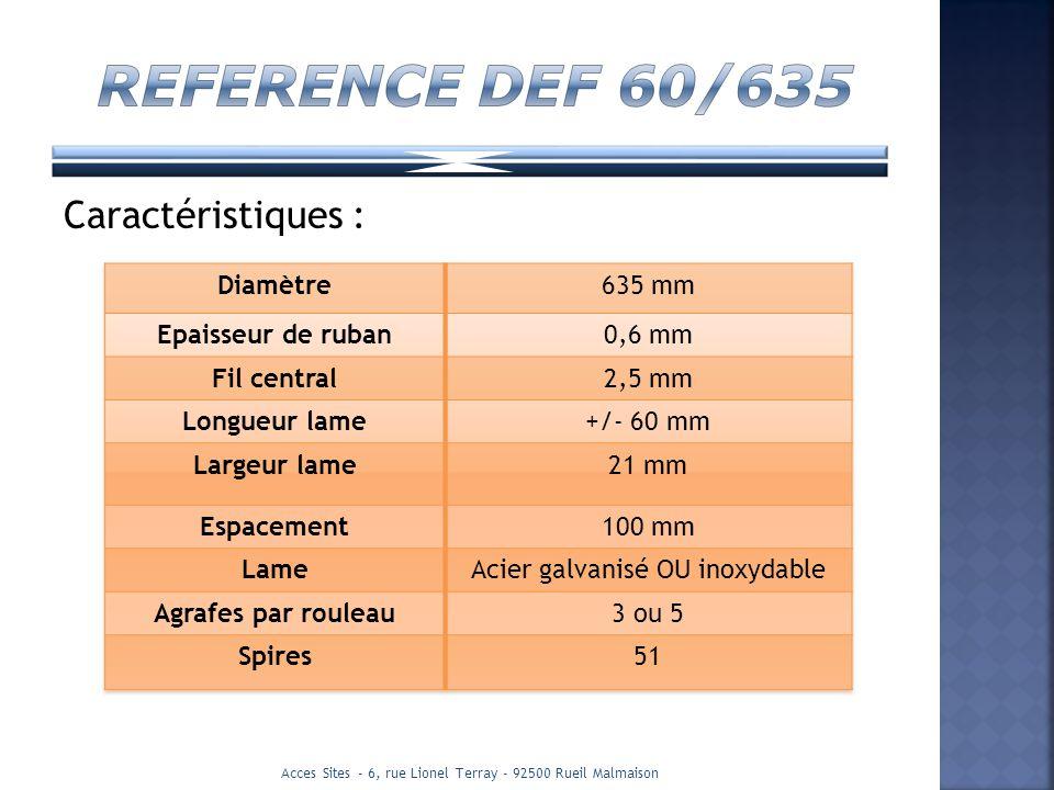 REFERENCE DEF 60/635 Caractéristiques : Diamètre 635 mm