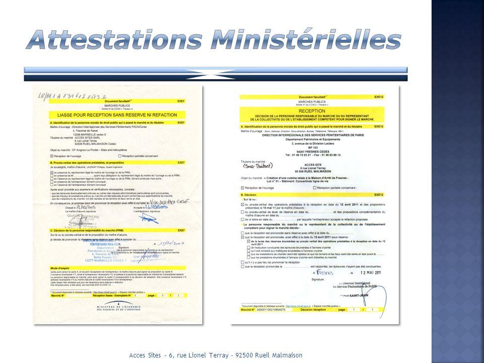 Attestations Ministérielles