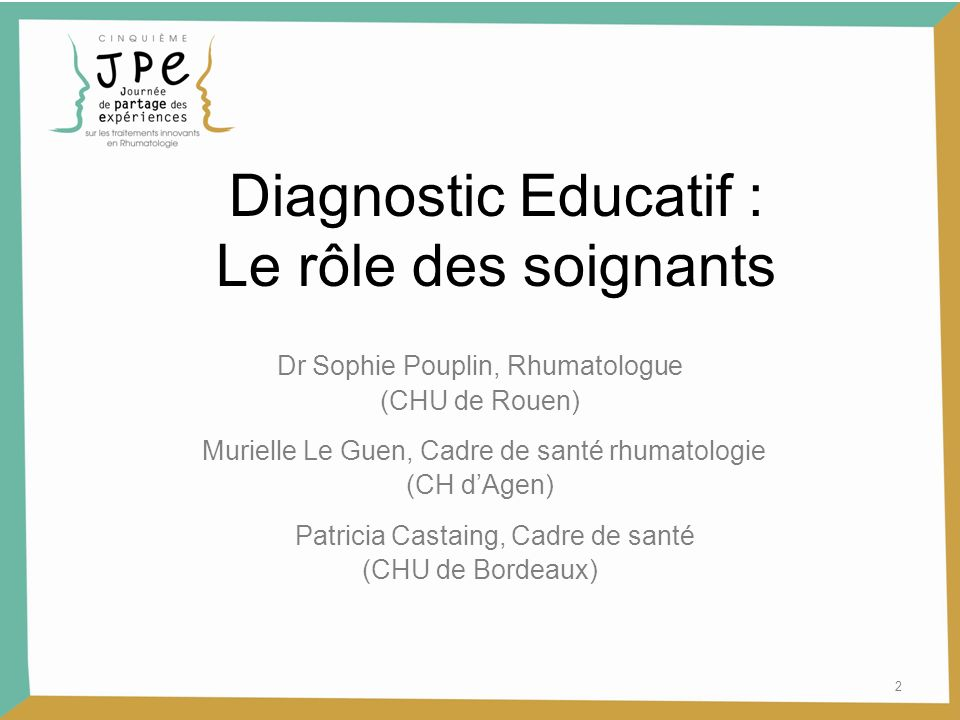 Diagnostic Educatif : Le rôle des soignants