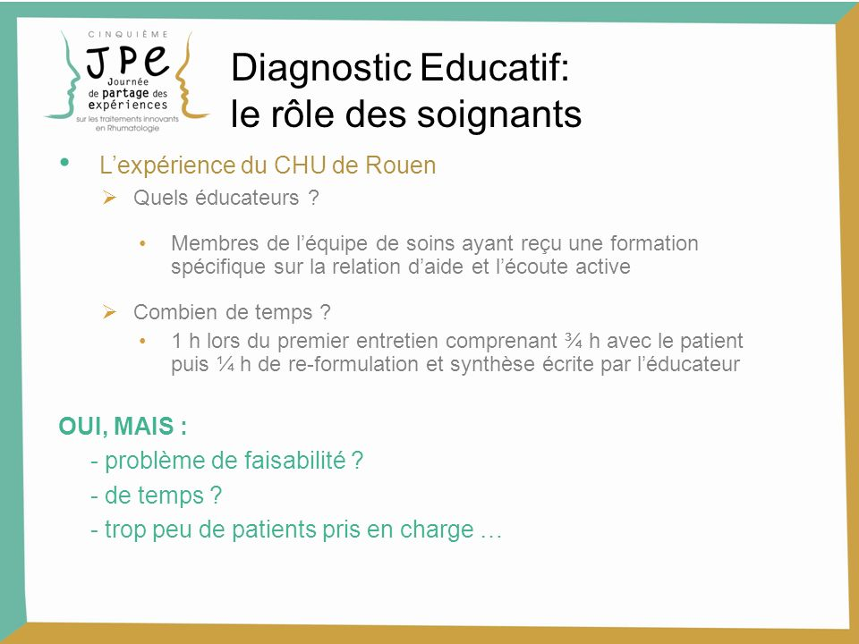 Diagnostic Educatif: le rôle des soignants