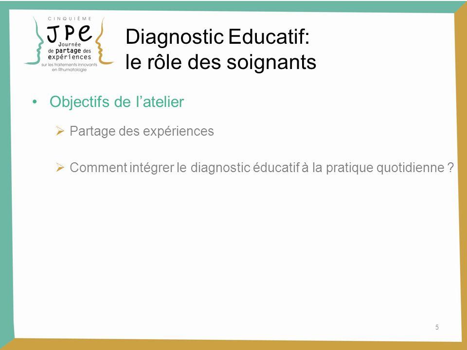 Diagnostic Educatif: le rôle des soignants Objectifs de l'atelier