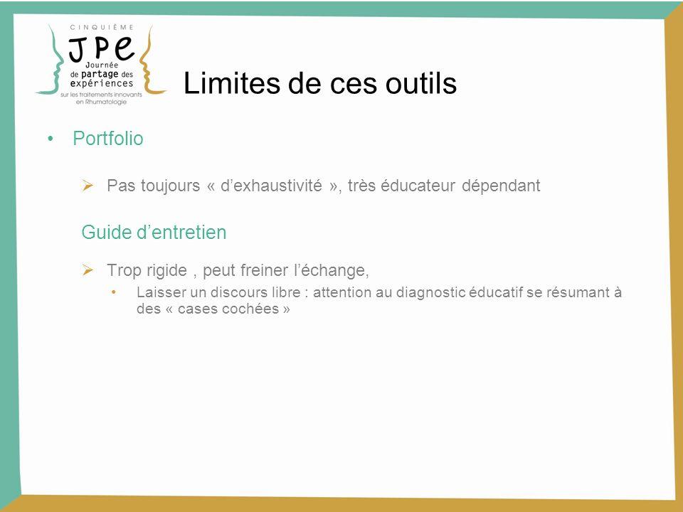Limites de ces outils Portfolio Guide d'entretien
