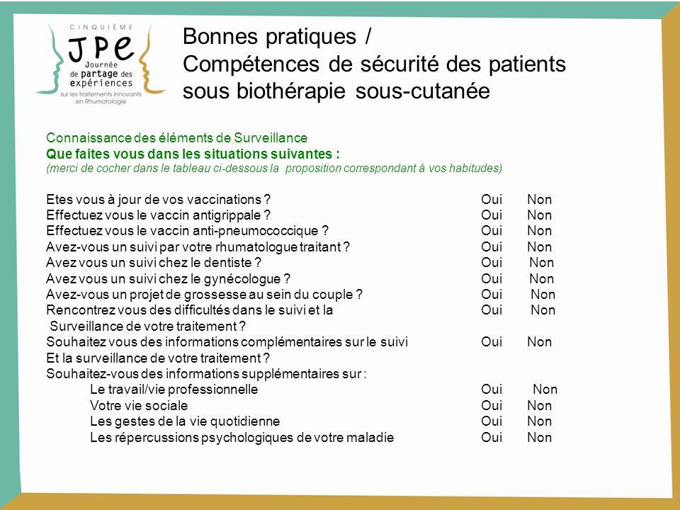 Compétences de sécurité des patients sous biothérapie sous-cutanée
