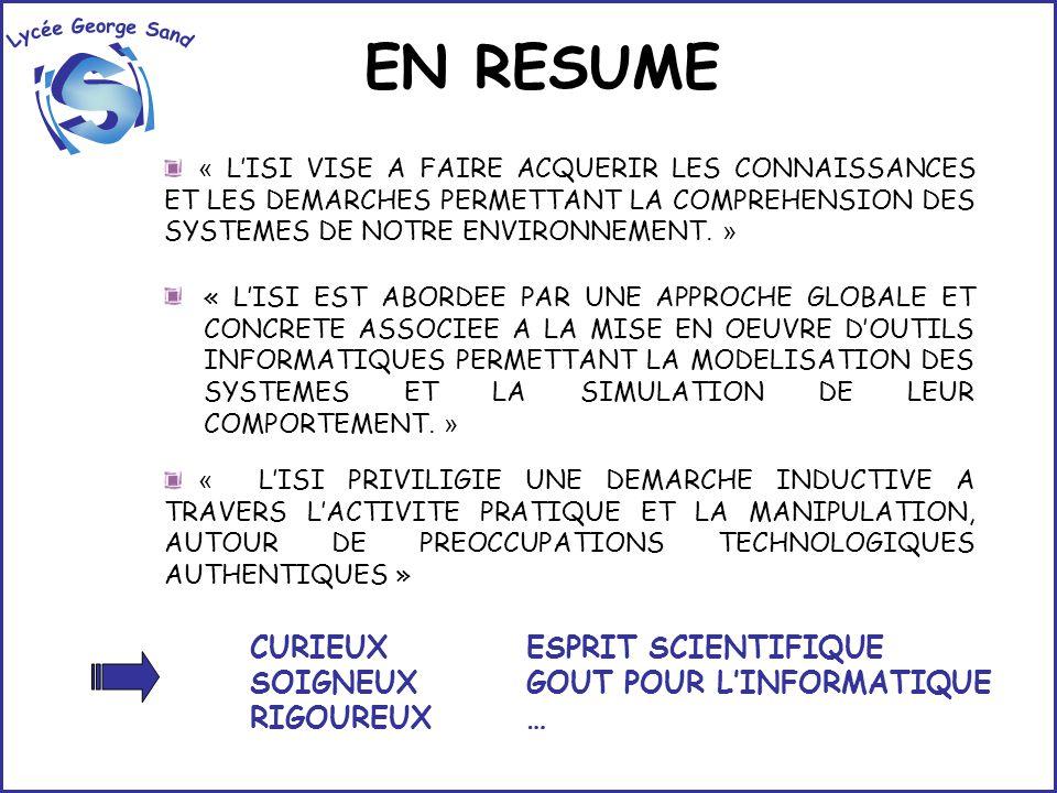 EN RESUME Lycée George Sand i S CURIEUX SOIGNEUX RIGOUREUX