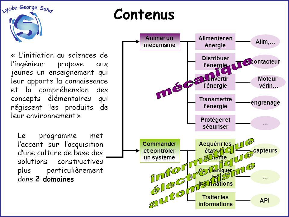 Contenus Lycée George Sand i S mécanique informatique électronique