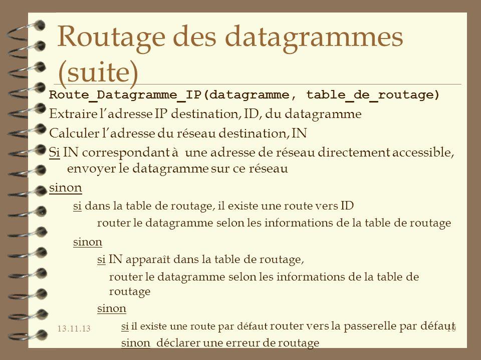 Routage des datagrammes (suite)