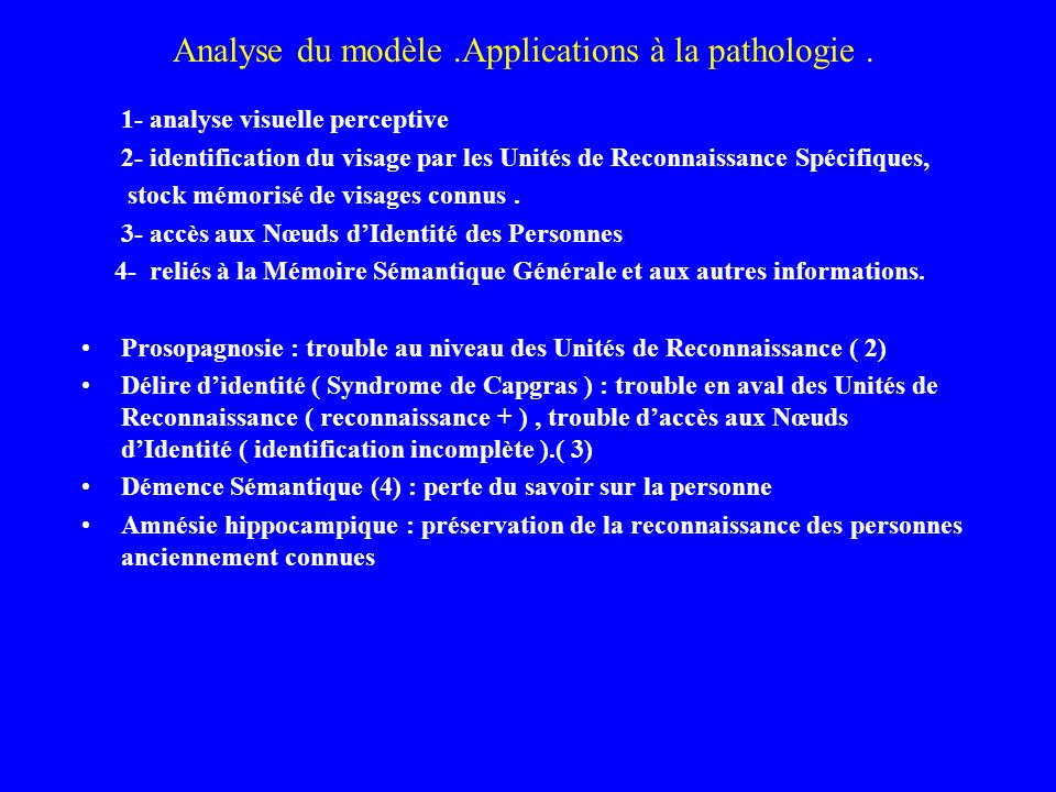 Analyse du modèle .Applications à la pathologie .
