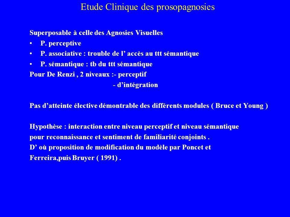 Etude Clinique des prosopagnosies