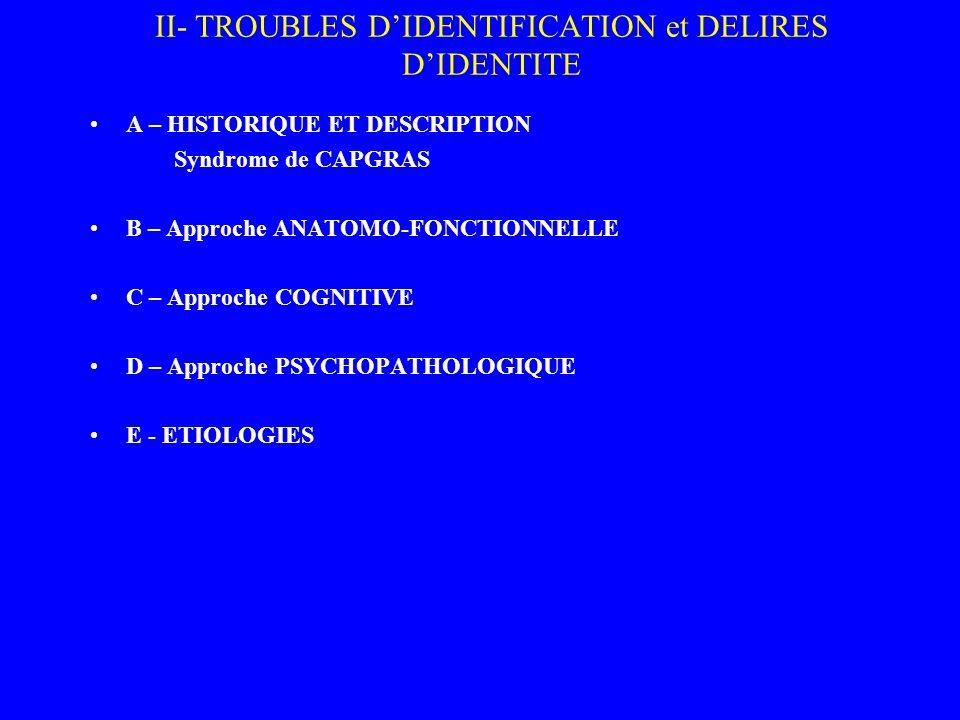 II- TROUBLES D'IDENTIFICATION et DELIRES D'IDENTITE