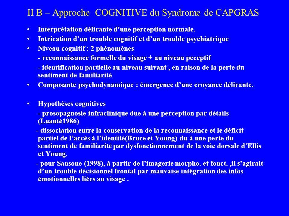 II B – Approche COGNITIVE du Syndrome de CAPGRAS