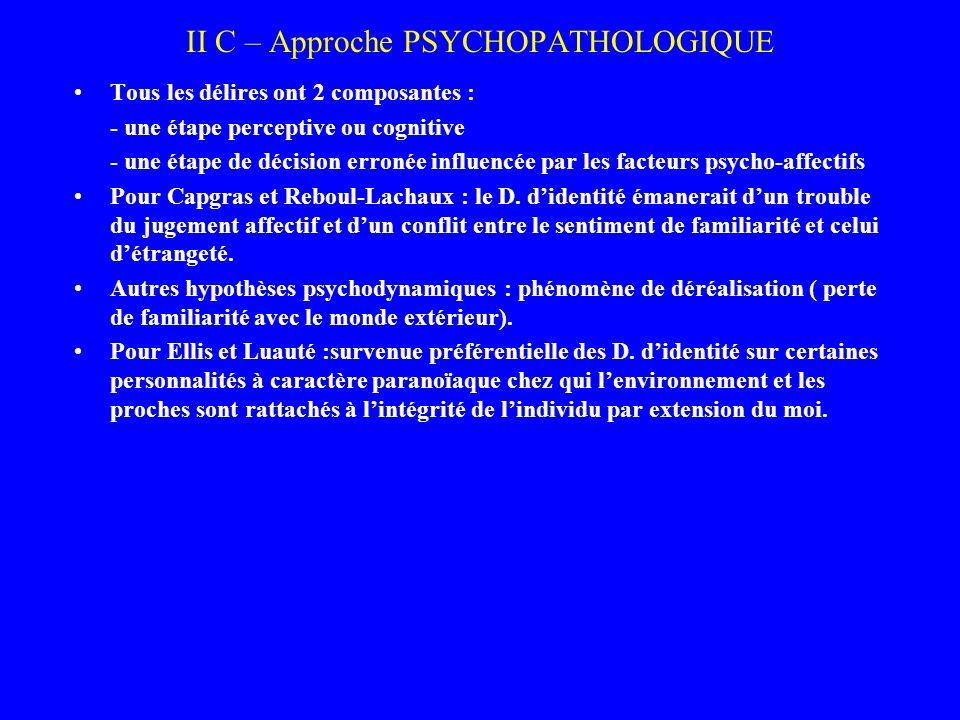 II C – Approche PSYCHOPATHOLOGIQUE