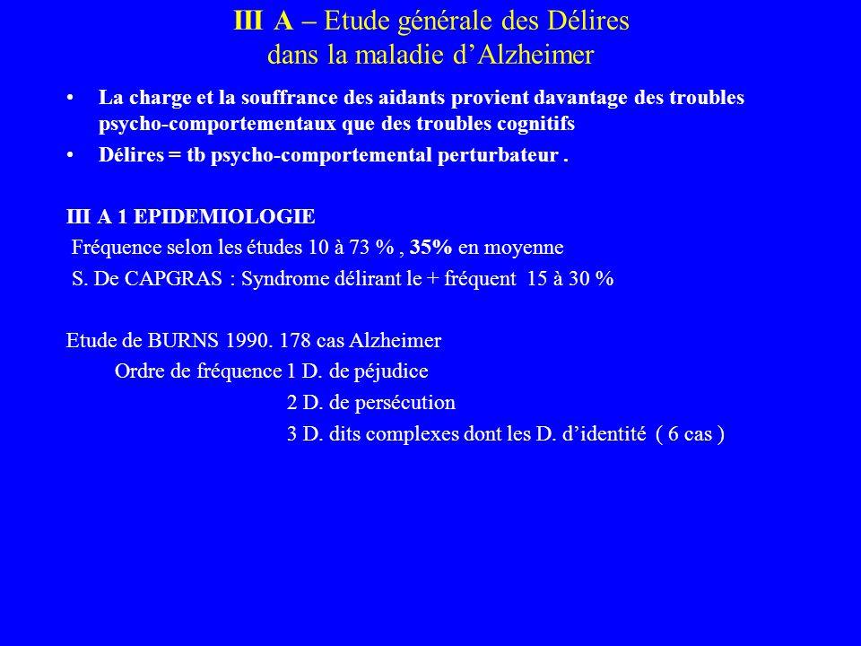 III A – Etude générale des Délires dans la maladie d'Alzheimer