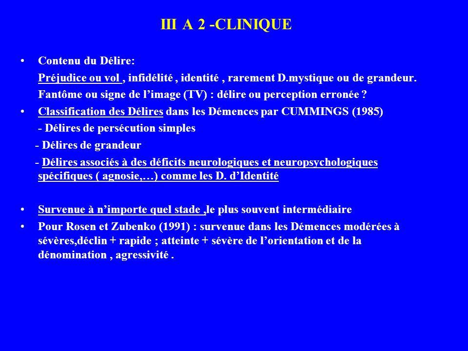 III A 2 -CLINIQUE Contenu du Délire: