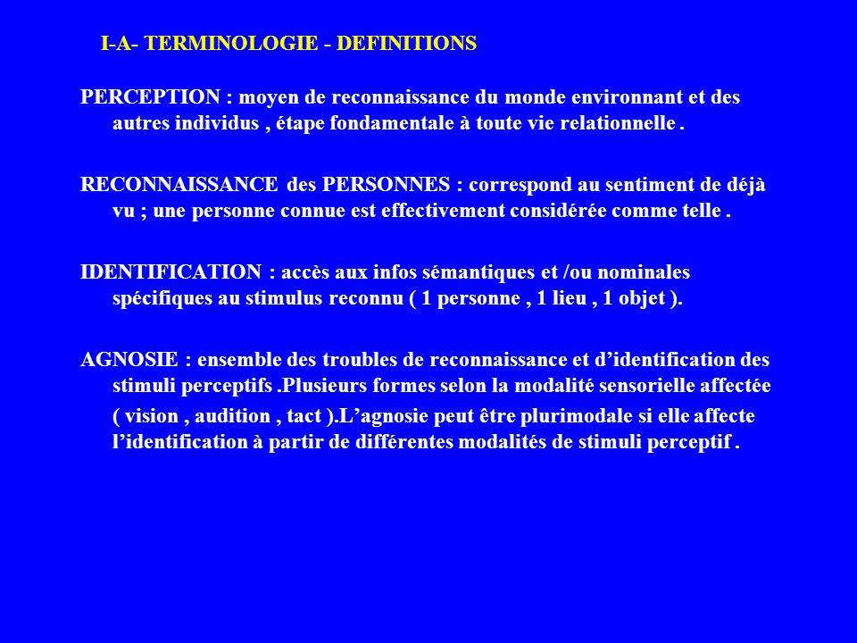 I-A- TERMINOLOGIE - DEFINITIONS