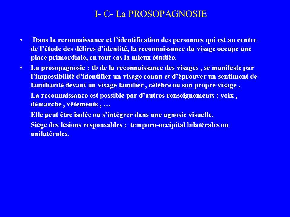I- C- La PROSOPAGNOSIE