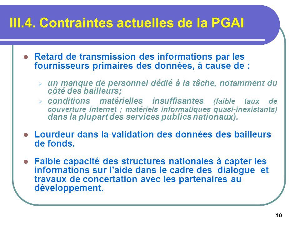 III.4. Contraintes actuelles de la PGAI