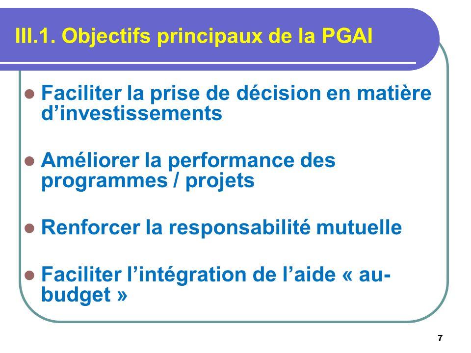 III.1. Objectifs principaux de la PGAI
